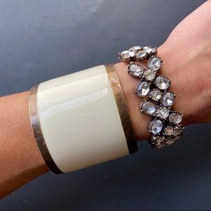 Zara Brass And off-white Coated bangle cuff